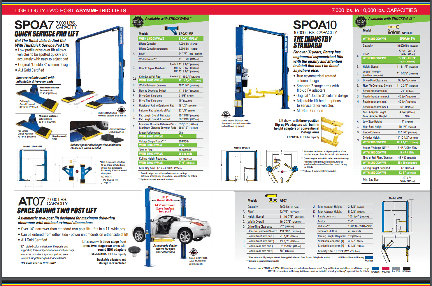 Rotary Spo10 Sw Shockwave Symmetrical 2 Post Lift Fast